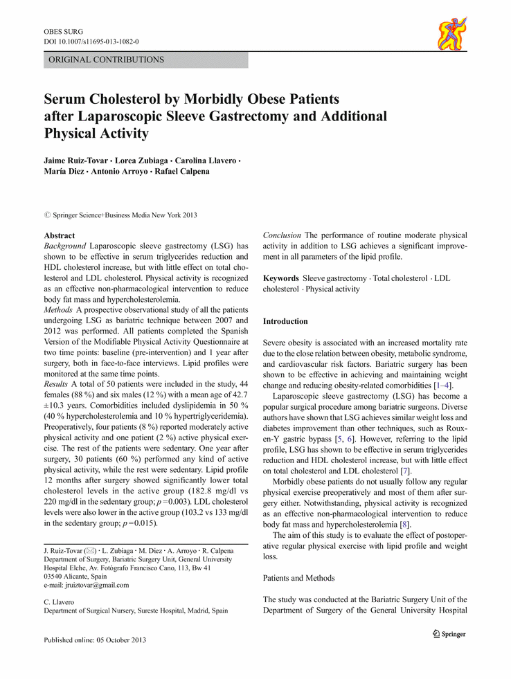 Serum Cholesterol by Morbidly Obese Patients after Laparoscopic Sleeve Gastrectomy